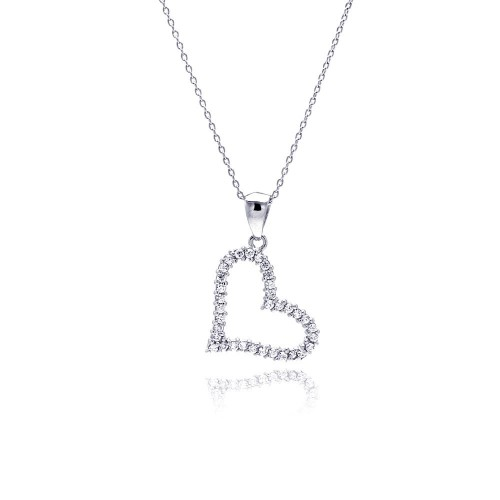 Wholesale Sterling Silver 925 Clear CZ Rhodium Plated Solo Heart Pendant Necklace - STP00017
