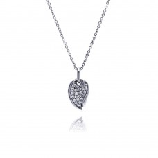 **Closeout** Sterling Silver Clear CZ Rhodium Plated Leaf Necklace - STP00019