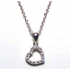 Sterling Silver Clear CZ Rhodium Plated Hanging Heart Pendant Necklace  - STP00025