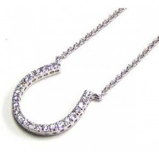 Sterling Silver Clear CZ Rhodium Plated U Shaped Pendant Necklace - STP00027