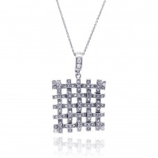 **Closeout** Sterling Silver Clear CZ Rhodium Plated Mesh Pendant Necklace - STP00028