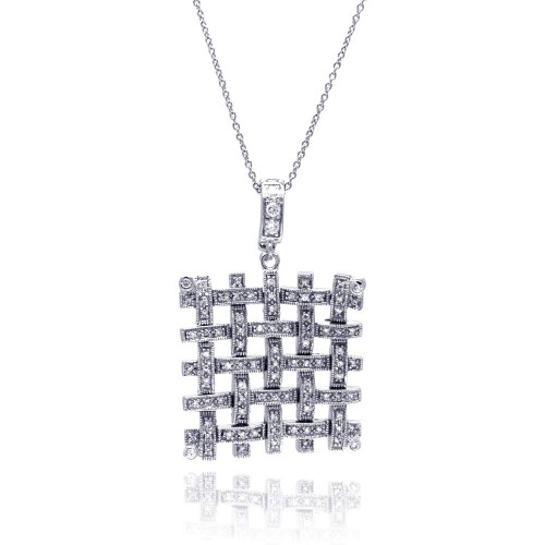 **Closeout** Wholesale Sterling Silver 925 Clear CZ Rhodium Plated Mesh Pendant Necklace - STP00028