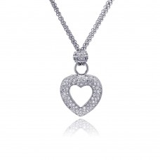 **Closeout** Sterling Silver Clear CZ Rhodium Plated Heart Pendant Necklace - STP00036