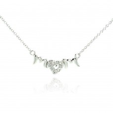 Sterling Silver Clear CZ Rhodium Plated Mom Heart Pendant Necklace - STP00040