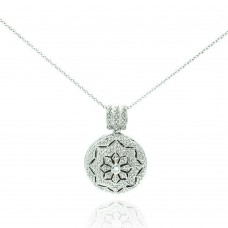 Sterling Silver Rhodium Plated Clear CZ Tribal Locket Necklace - STP00041