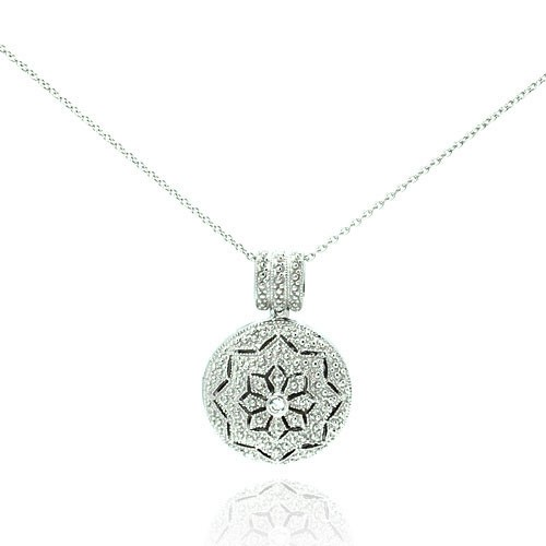 Wholesale Sterling Silver 925 Rhodium Plated Clear CZ Tribal Locket Necklace - STP00041