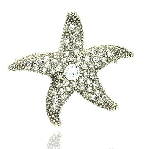 Wholesale Sterling Silver 925 Rhodium Plated Clear CZ Starfish Pin Pendant Necklace - STP00044