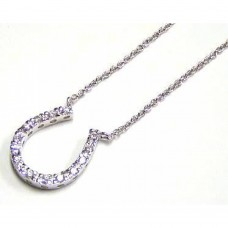 Sterling Silver Clear CZ Rhodium Plated Horse Shoe Pendant Necklace - STP00045