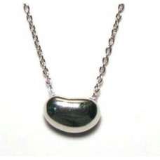 Sterling Silver Rhodium Plated Bean Pendant Necklace - STP00046