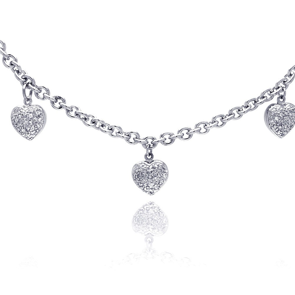 **Closeout** Wholesale Sterling Silver 925 Clear CZ Rhodium Plated 3 Hearts Charm Pendant Necklace - STP00048