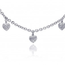 **Closeout** Sterling Silver Clear CZ Rhodium Plated 3 Hearts Charm Pendant Necklace - STP00048