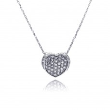 **Closeout** Sterling Silver Clear CZ Rhodium Plated 1 Heart Pendant Necklace - STP00049