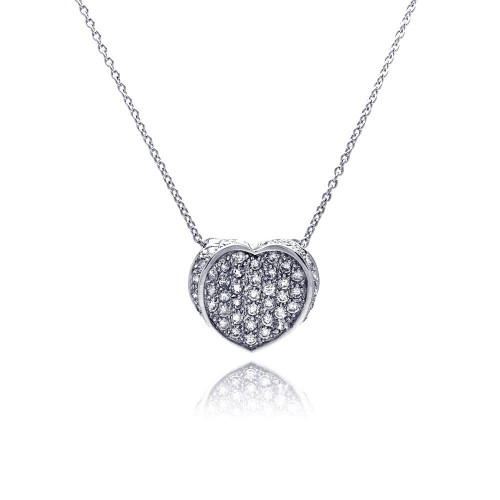 **Closeout** Wholesale Sterling Silver 925 Clear CZ Rhodium Plated 1 Heart Pendant Necklace - STP00049