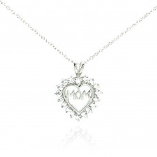 Sterling Silver Clear CZ Rhodium Plated Mom Heart Pendant Necklace - STP00054