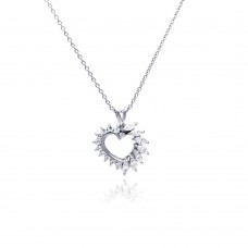 **Closeout** Sterling Silver Clear CZ Rhodium Plated Heart Pendant Necklace - STP00056