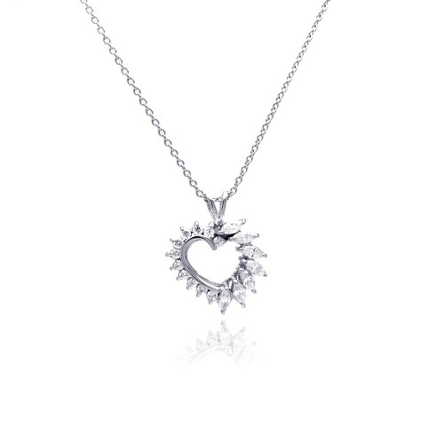 **Closeout** Wholesale Sterling Silver 925 Clear CZ Rhodium Plated Heart Pendant Necklace - STP00056