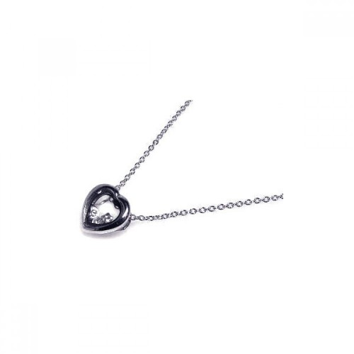 Wholesale Sterling Silver 925 Rhodium Plated Open Heart Clear CZ Accent Pendant Necklace - STP00059