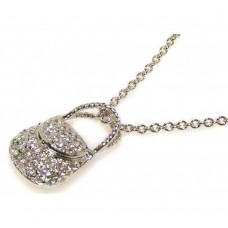 **Closeout** Sterling Silver Clear CZ Rhodium Plated Hand Bag Pendant Necklace - STP00062
