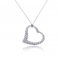 **Closeout** Sterling Silver Clear CZ Rhodium Plated Dangling Heart Pendant Necklace - STP00068