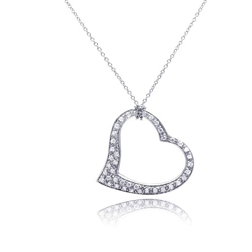 **Closeout** Wholesale Sterling Silver 925 Clear CZ Rhodium Plated Dangling Heart Pendant Necklace - STP00068