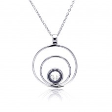 **Closeout** Sterling Silver Rhodium Plated 3 Circles Pendant Necklace - STP00071