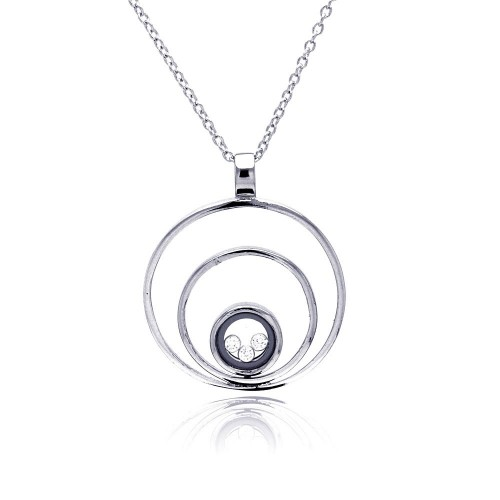 **Closeout** Wholesale Sterling Silver 925 Rhodium Plated 3 Circles Pendant Necklace - STP00071