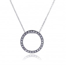 **Closeout** Sterling Silver Clear CZ Rhodium Plated Round Pendant Necklace - STP00072