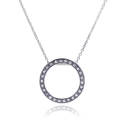 **Closeout** Wholesale Sterling Silver 925 Clear CZ Rhodium Plated Round Pendant Necklace - STP00072