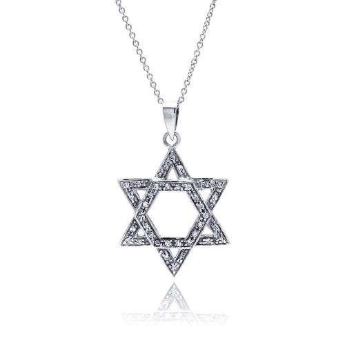 Wholesale Sterling Silver 925 Clear CZ Rhodium Plated Star Of David Pendant Necklace - STP00086