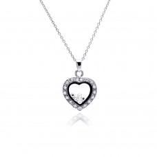 Sterling Silver Clear CZ Rhodium Plated Heart CZ Accent Pendant Necklace - STP00094