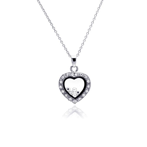 Wholesale Sterling Silver 925 Clear CZ Rhodium Plated Heart CZ Accent Pendant Necklace - STP00094
