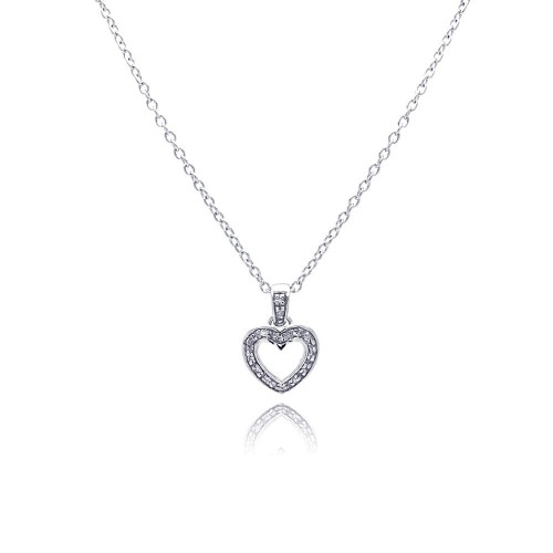 Wholesale Sterling Silver 925 Clear CZ Rhodium Plated Classic Heart Pendant Necklace - STP00098