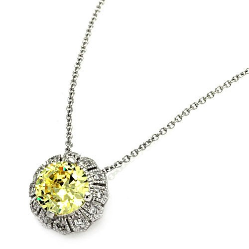 Wholesale Sterling Silver 925 CLR/Yellow CZ Rhodium Plated Solo Pendant Necklace - STP00100