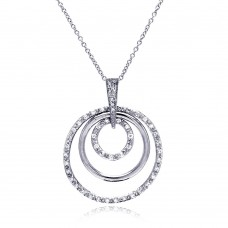 **Closeout** Sterling Silver Clear CZ Rhodium Plated Multi Circle Pendant Necklace - STP00101