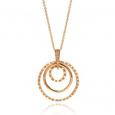 **Closeout** Sterling Silver Clear CZ Gold Plated Multi Circle Pendant Necklace - STP00101RGP