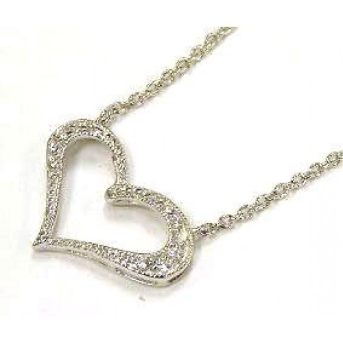 Wholesale Sterling Silver 925 Clear CZ Rhodium Plated Heart Pendant Necklace - STP00102