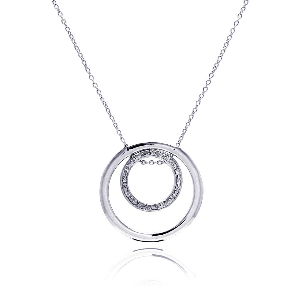**Closeout** Wholesale Sterling Silver 925 Clear CZ Rhodium Plated Double Circle Pendant Necklace - STP00108