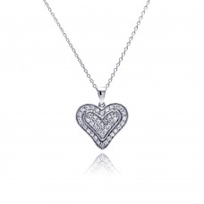 **Closeout** Sterling Silver Clear CZ Rhodium Plated Single Heart Pendant Necklace - STP00110
