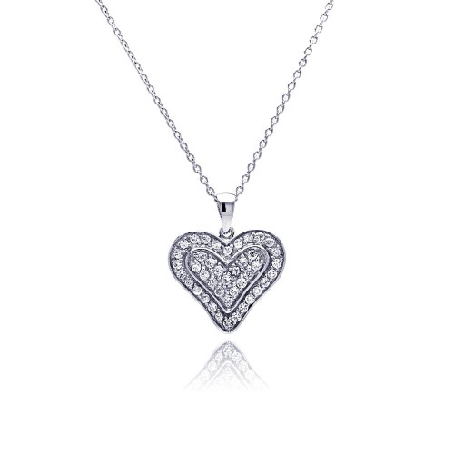 **Closeout** Wholesale Sterling Silver 925 Clear CZ Rhodium Plated Single Heart Pendant Necklace - STP00110