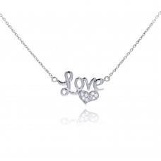 Wholesale Sterling Silver 925 Clear CZ Rhodium Plated Love Heart Pendant Necklace - STP00113