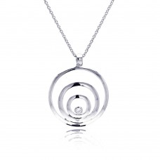 **Closeout** Wholesale Sterling Silver 925 Rhodium Plated Spiral Pendant Necklace - STP00116