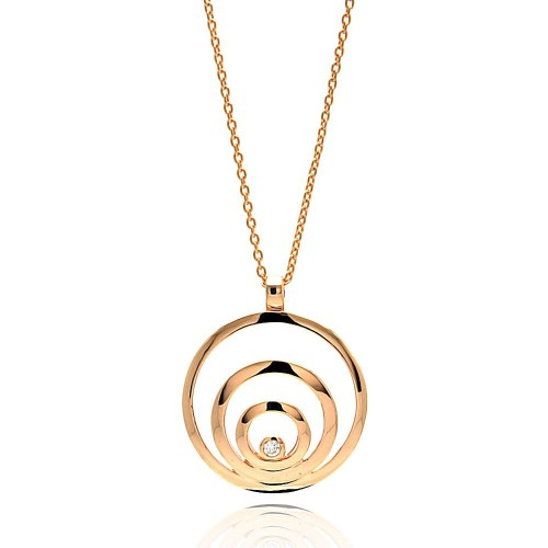 **Closeout** Wholesale Sterling Silver 925 Rose Gold Plated Spiral Pendant Necklace - STP00116RGP