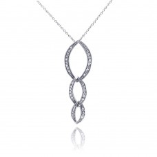 **Closeout** Sterling Silver Clear CZ Rhodium Plated Oval Link Pendant Necklace - STP00117