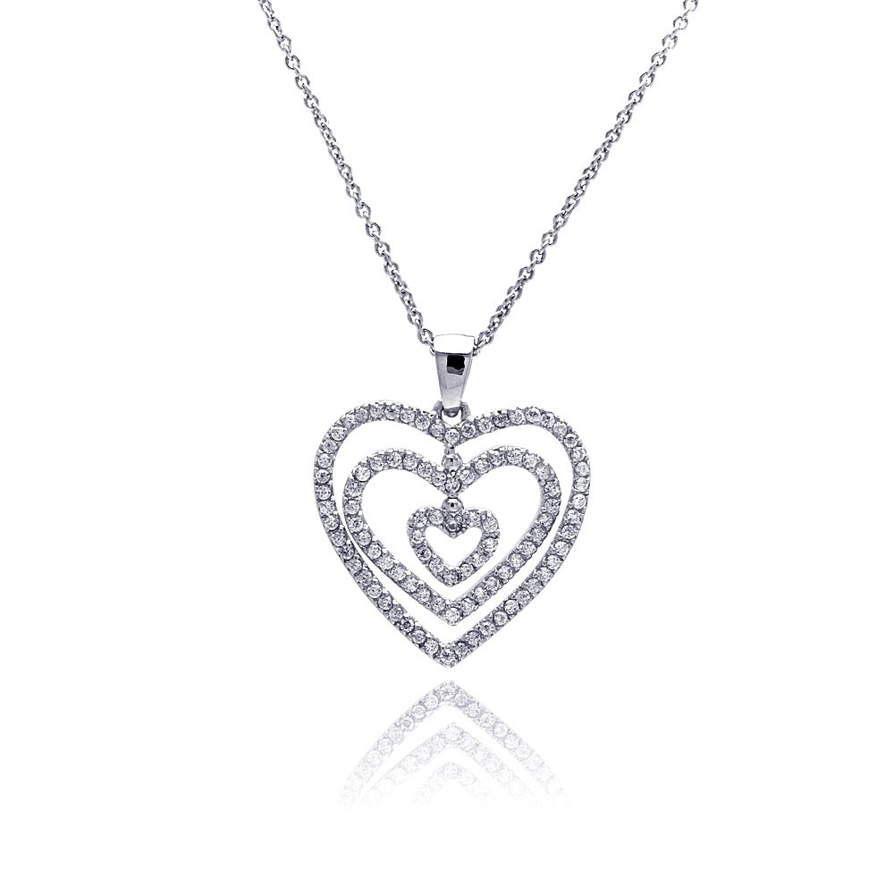 **Closeout** Wholesale Sterling Silver 925 Clear CZ Rhodium Plated Graduated Heart Pendant Necklace - STP00118
