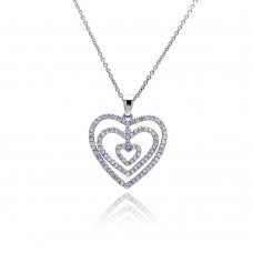 **Closeout** Sterling Silver Clear CZ Rhodium Plated Graduated Heart Pendant Necklace - STP00118