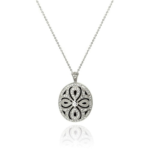 Wholesale Sterling Silver 925 Clear CZ Rhodium Plated Cross Locket Necklace - STP00121