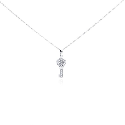 Wholesale Sterling Silver 925 Clear CZ Rhodium Plated Small Key Pendant Necklace - STP00122