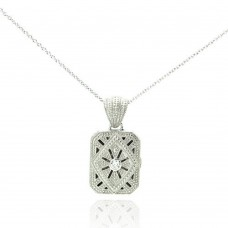 Sterling Silver Clear CZ Rhodium Plated Double Square Locket Pendant Necklace - STP00123