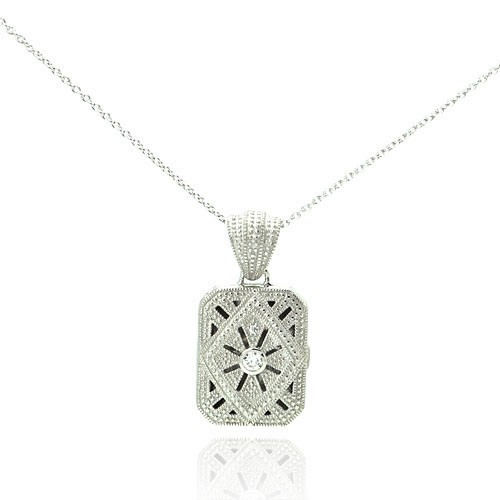 Wholesale Sterling Silver 925 Clear CZ Rhodium Plated Double Square Locket Pendant Necklace - STP00123