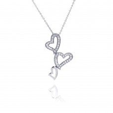 **Closeout** Sterling Silver Clear CZ Rhodium Plated 3 Hearts Pendant Necklace - STP00125
